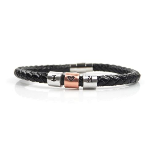 I Love You Leather Bracelet with Hand Stamped Rings - Free Delivery